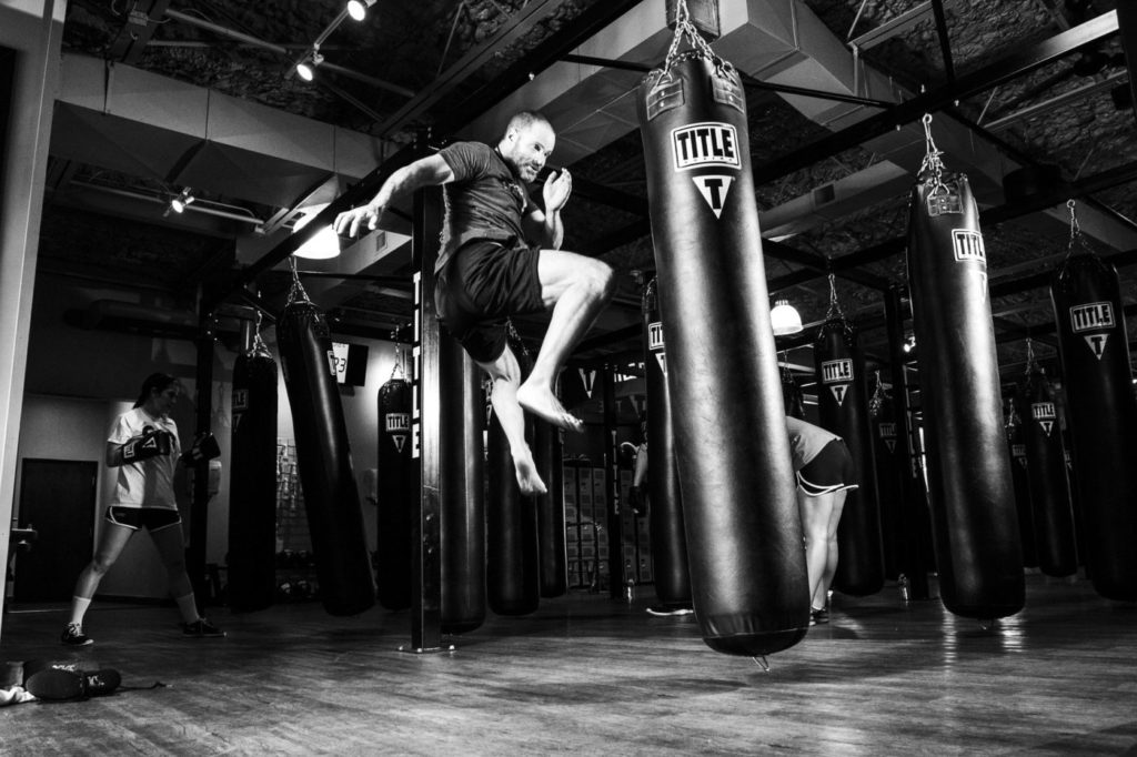 Karate kick with jump
