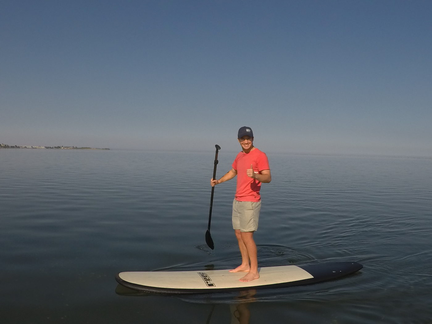 Man doing Stand up paddle boarding